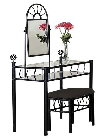 (Black Metal Bedroom Vanity with Glass Table & Bench Set)