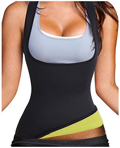 Waist Trainer Tummy Fat Burner Sweat Tank Top Weight Loss Shapewear Neoprene (XX-Large, Black)