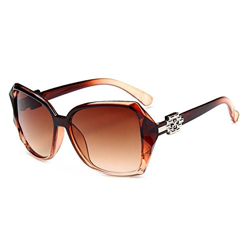 AOLVO polarizadas marrón mujer para no cuadradas vintage gran protección Gafas UV tamaño sol marrón de de Marrón fAqfprx