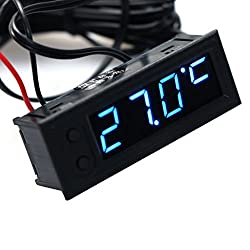 Qisuw DIY Multifunction Clock-Car Temperature Battery Voltage Monitor Voltmeter DC 12V (Blue)