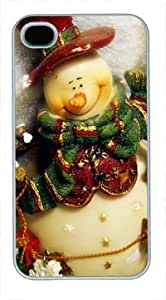 High Quality Fashion White PC Case for iPhone 4 Generation Back Cover Case for iPhone 4S with Christmas Snowman