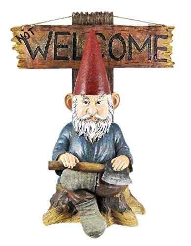 Figurine Grinchy Go Away and Un-Welcome Greeter Sign Home Decor Statue -