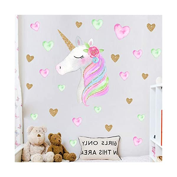 Hicdaw 110PCS Decoration for Unicorn Wall Stickers 3 Pack 2 Styles for Unicorn Wall Decal with Heart Flower Birthday… 9