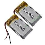 FidgetFidget Battery 2 pcs 3.7V 250 mAh Polymer Li for Bluetooth Headset Glasses Mp3 501730
