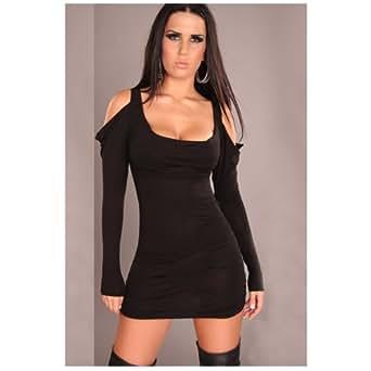 las Vestido de Club negro Sexy club poliéster manga de de mujeres sexy clubwear de de de manga larga larga 6wft6qr
