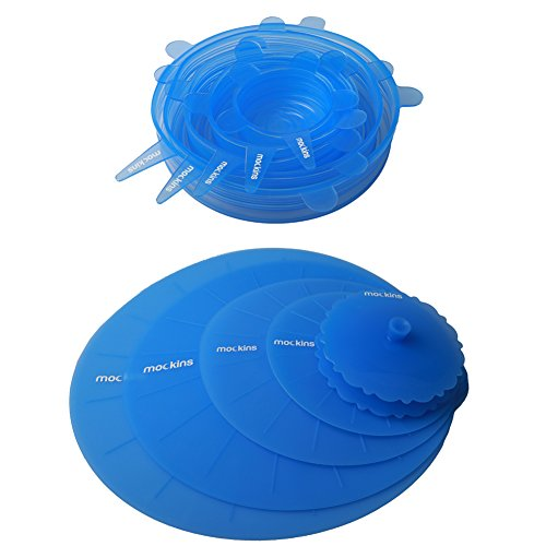 mockins 12 Pack Silicone Covers | 5 Silicone Stretch Lids & 7 Suction Lids | The Reusable Silicone Huggers are Expandable To Fit Various Unique Shapes & Sizes To Keep Your Food Fresh & Tasty - Blue by Mockins (Image #1)'