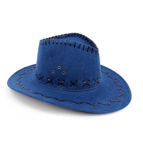Cowboy Dress For Man - HMILYDYK Wide Brim Stetson Cowboy Hat Wild West Unisex Fancy Dress Accessory Blue