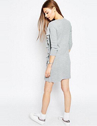PU&PU Robe Aux femmes Ample Simple / Mignon,Couleur Pleine Col Arrondi Au dessus du genou Coton / Polyester , gray-l , gray-l