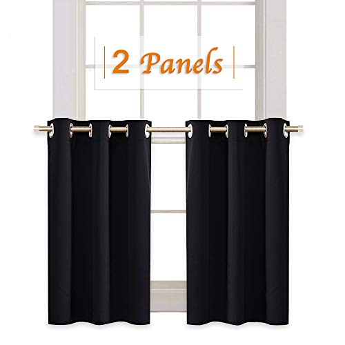 RYB HOME Blackout Tiers Window Drapery Valances for Bedroom, Thermal Insulated Tailored Curtains Privacy Drapes for Nursery/Baby Room, Width 42