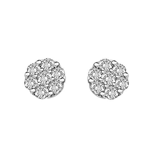 Cluster Silver Diamond Earrings (1 cttw Round Real Natural Diamond Flower Cluster Stud Earrings in Sterling Silver)