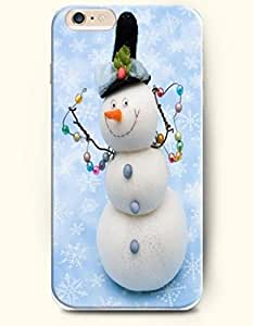 OOFIT Apple iPhone 6 case 4.7 inches - An Elegant Snowman Dancing On Sky Blue Floor by supermalls