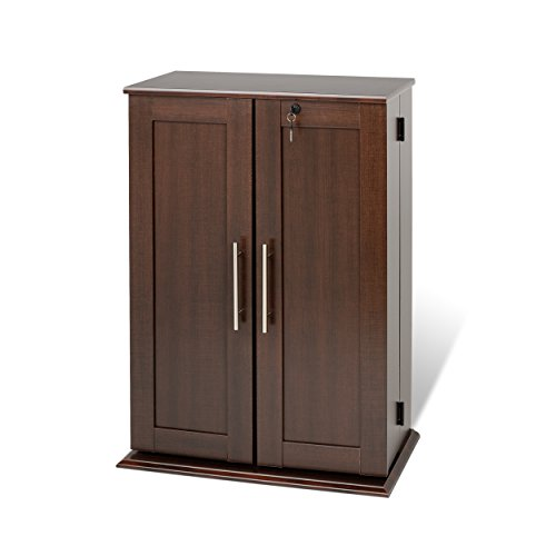 Espresso Locking Media Storage Cabinet with Shaker Doors (Storage Dvd Wood Cabinet)