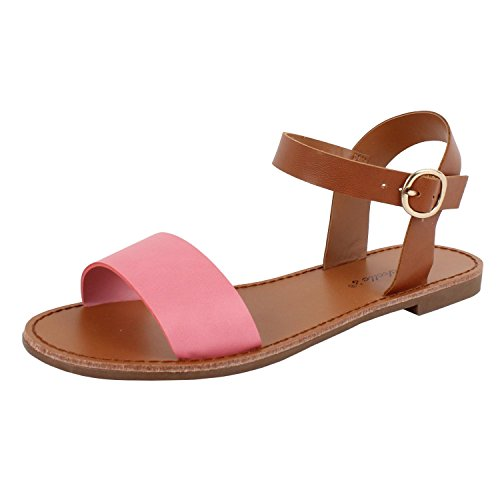 One Strap Sandal (Womens Open Toe Ankle Strap One Band Comfort Flat Buckle Flats-Sandals (6.5 M, Pink Pu))