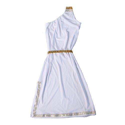 Girls White One-Shoulder Greek Athena Goddess Sheath Costume Dress (2/4, White)