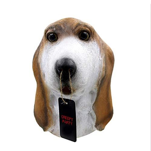 VJUKUBWINE Foxhound Basset Dog Head Mask Halloween Decoration Costume Mask Cosplay Full Head Mask Latex Fire -
