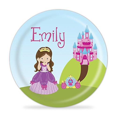 Princess Plate - Pink Castle Purple Princess Melamine Personalized - Posh Spice Dress