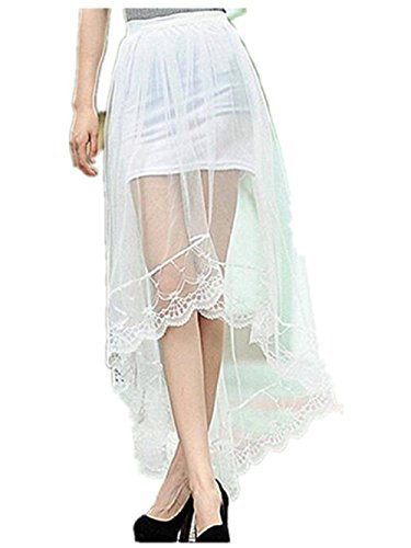 Womens Boho Chiffon Lace High Low Asymmetrical Long Maxi Skirt (White)