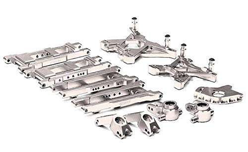 Integy RC Model Hop-ups T8580SILVER Billet Machined Suspension Set for 1/10 Stampede 4X4 & Slash 4X4 (Non-LCG) ()
