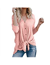 Helury Womens Loose Stripe Knit Tops Button Down Blouse Tie Knot Henley Shirts