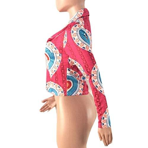 Fashion Rosso Slim Vintage Giacche Maniche Lunghe Cappotto Semplice Primaverile Stampato Outerwear Glamorous Fit Facile Tempo Libero Autunno Donna Corto Elegante Giubbino 77wRFX