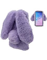 LCHDA Rabbit Case for Samsung Galaxy A70,Rabbit Fur Bunny Ear Case for Girls Fuzzy Cute Warm Winter Soft Furry Fluffy Ball Fur Hair Plush Protective TPU Bumper Skin Cover for Samsung Galaxy A70-Purple