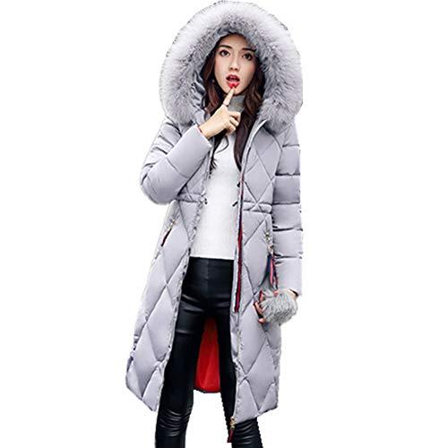 veste épaississement manteau et bas rose capuche longue gris xxl section manteau col de grand fourrure Coton rose rouge les gris mi pour femmes CqWw7UzZ