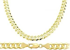 Heavy 14k Yellow Gold Chain Cuban Curb Necklace Solid Link Mens 7.1mm , 20 inch