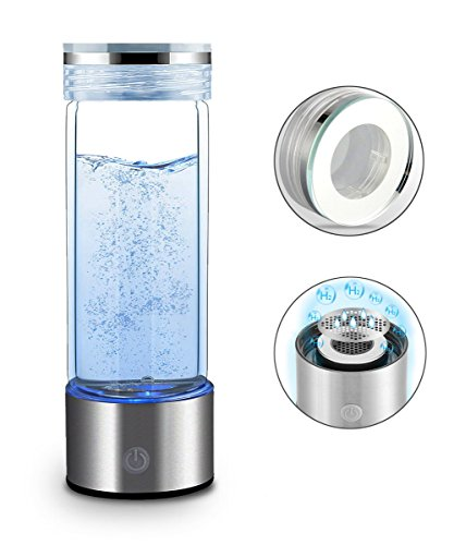Hydrogen Water Bottle Portable Hydrogen Water Maker SPE PEM Technology Rechargeable Ionized Water Generator Anti Aging Antioxidant Glass Bottle 350ml (Silver)