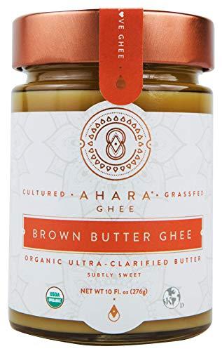 Ahara Rasa Brown Butter Organic Ghee 10oz, 100% Pure Grass Fed. (10 fl oz)