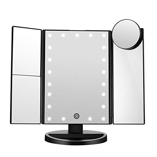 FASCINATE Trifold Led Lighted Makeup Mirror, 2X/3X/ Magnification Vanity Mirror with LED Lights, 360° Rotation Touch…