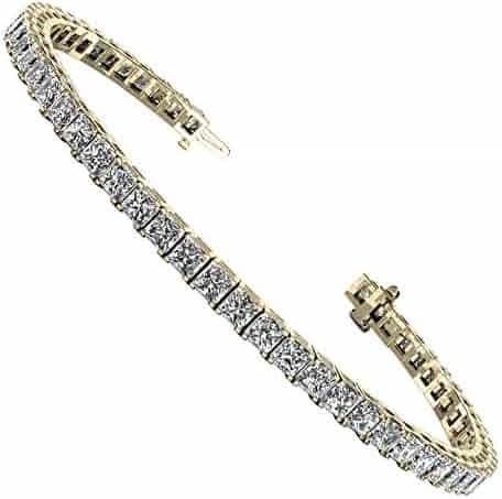 f9fe4ab80 Jade Marie Fancy Silver Princess Cut Cubic Zirconia Tennis Bracelet,  Classic 18K White Gold Plated