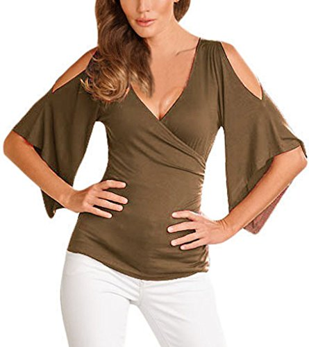 AnnFlat Women's V Neck Cold Shoulder Trumpet Sleeve Wrap Top T-shirts Large Brown
