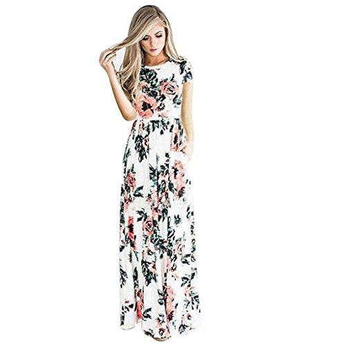 Boho Dress,Laimeng Women Ladies Polyester Floral Print Short Sleeve Evening Party Maxi Dress (4, White)
