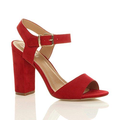 Ajvani Block Sandals Suede Size Women High Heel Red qqwpAr