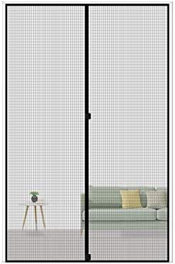 "MAGZO Magnetic Screen Door 32 x 80, Reinforced Fiberglass Mesh Curtain Patio Door Mesh with Full Frame Hook&Loop Fits Door Size as much as 32""x80"" Max-Grey"