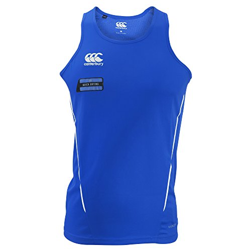 Canterbury Mens Team Dry Sleeveless Singlet Sports Vest (XXL) (Royal/White)