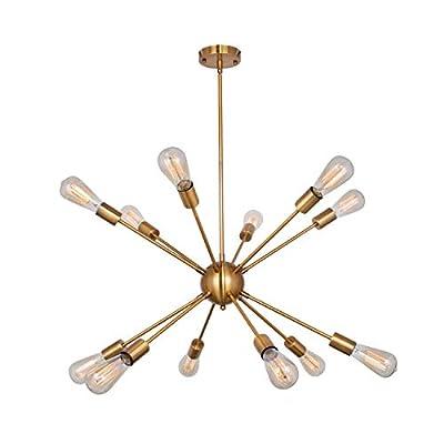 Modern 12 Lights Sputnik Chandelier Brushed Brass Pendant Lighting Retro Industrial Vintage Gold Ceiling Light Fixture for Living Room Dining Room Bed Room Kitchen Room