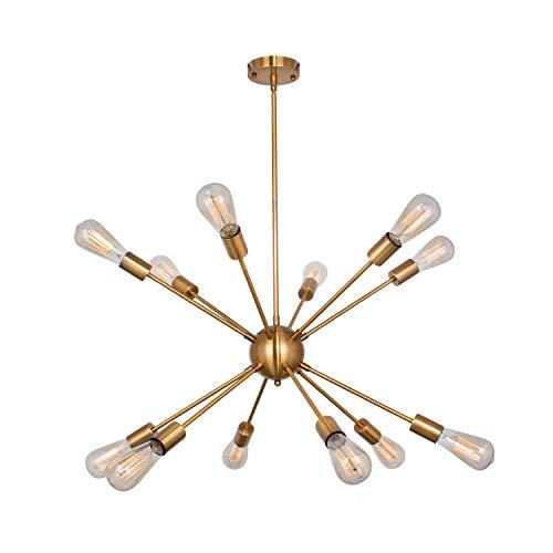 Sputnik Chandelier 12 Lights Modern Brushed Brass Ceiling Light Fixture Gold Retro Industrial Pendant Lighting for Dining Room Kitchen Living Room Bedroom