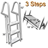 RecPro Marine PONTOON BOAT DOCK HEAVY DUTY ALUMINUM 3 STEP REMOVABLE BOARDING LADDER AL-A3 …