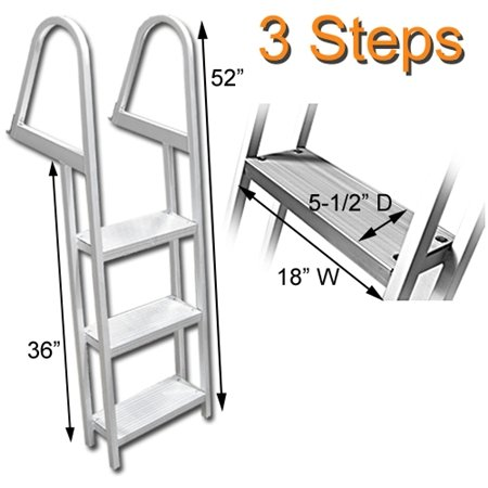 RecPro Marine PONTOON BOAT DOCK HEAVY DUTY ALUMINUM 3 STEP REMOVABLE BOARDING LADDER AL-A3 (3 Step Dock Ladder)