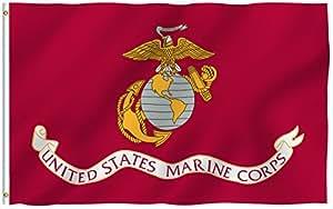 ANLEY® [Fly Breeze] 3x 5pies nos Marines poliéster bandera–Colores Vivos y ultravioleta resistente a la decoloración–cabecera de lona y doble costura–Estados Unidos Infantería De Marina Militar banderas con arandelas de latón 3x 5ft