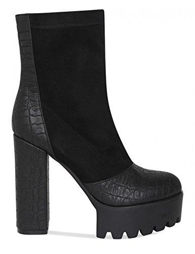 LAMODA Womens Croc PU Detail Platform Ankle Boots in Faux Suede Black