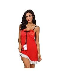 FDelinK Women Christmas Sexy Lingerie Halter Backless Lace Trim Babydoll G-String 2 Piece Set Sleepwear