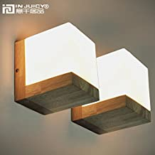 Injuicy Lighting Loft Vintage Industrial E27 Wooden Base Led Wall Lights Lamp Fixtures Retro Glass Shades Cube Edison Wall Sconces for Living Room Bedrooms Indoor Bedside Decoration