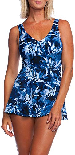 Hollywood One Piece - Maxine Of Hollywood Women's V-Neck Swim Dress One Piece Swimsuit, Navy, 12