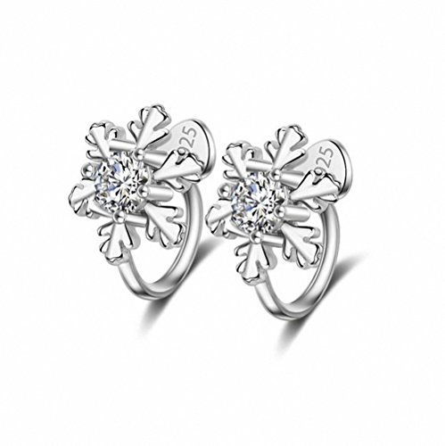 sanfnee Clear Crystal Paved Snowflake Shape Sliver Ear Cuffs Earrings for Non Piercing Ears