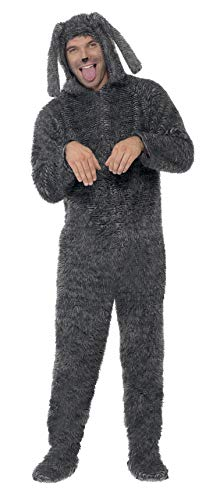 (Smiffy's Men's Fluffy Dog Costume All in One with Hood, Grey M - US Size)