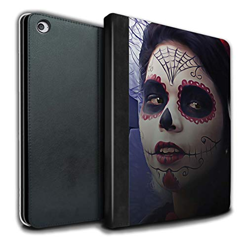 STUFF4 PU Leather Book/Cover Case for Apple iPad Air 2 Tablets/Halloween Makeup Design/Day of The Dead Festival -