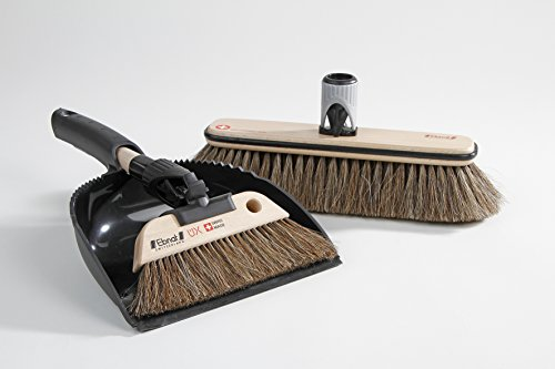 Swiss Horse Hair Broom with Handle and Dustpan Set Kombi 3 by Nessentials by Nessentials