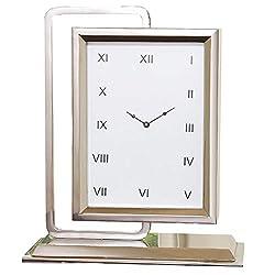 Global Views Retro Vintage Style Mirrored Nickel Desk Clock | Watch Face Swivel Mid Century